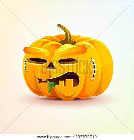 Stock vector illustration horrible cartoon Jack-o-lantern, terrible facial expression autumn pumpkin nasty ugly emotion, emoji, sticker for celebrating Day all Saints, Happy Halloween in flat style