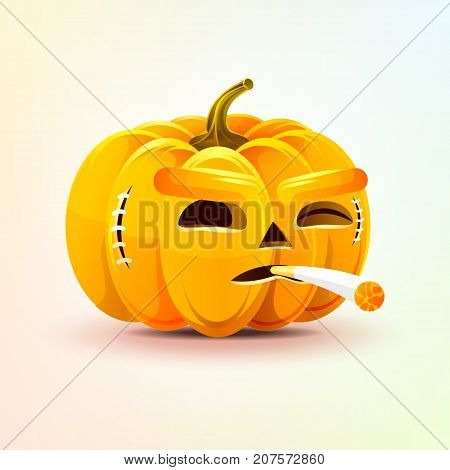 Stock vector illustration horrible cartoon Jack-o-lantern, terrible facial expression of pumpkin smoking cigarette emotion, emoji sticker for celebrating Day all Saints, Happy Halloween in flat style