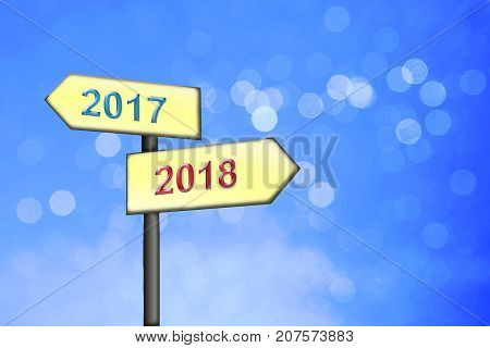 Blue Winter Background With Soft Circles, Signpost With Change 2016 To 2017