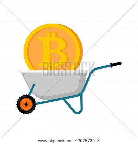 Wheelbarrow And Bitcoin. Cryptocurrency In Garden Trolley. Virtual Cash. Vector Illustration