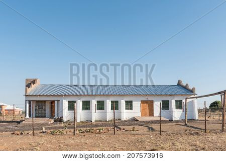 GROOT MIER SOUTH AFRICA - JULY 6 2017: The Sigem Promised Land Ministries Church in Groot Mier (big ant) a village in the Northern Cape Province of South Africa