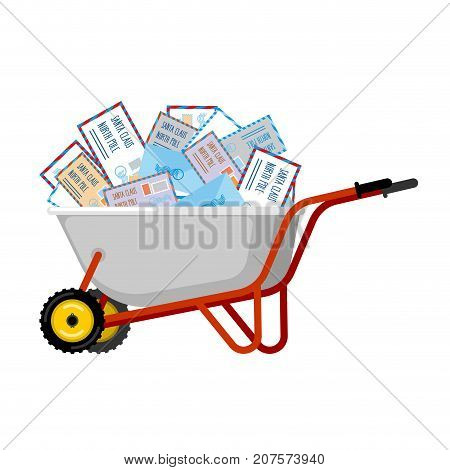 Wheelbarrow And Mail For Santa Claus. Xmas Grounds Trolley. Christmas And New Year. Vector Illustrat