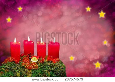 Festive Xmas Background With Advent Wreath And Shiny Stars