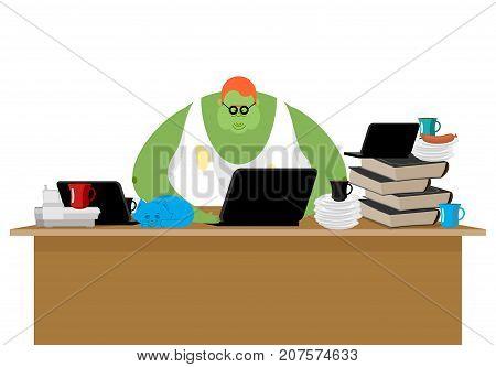 Internet Trol. Big Green Monster And Laptop. Vector Illustration