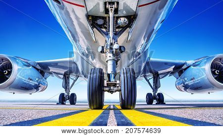 close up of landing gear from an aircraft
