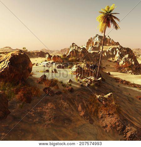 Arabic community on wasteland, 3d rendering