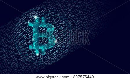 Bitcoin crypto currency sign on globe. International e-finance e-commerce concept. Binary number code planet Earth abstract banner. Blue dark space color business vector illustration art