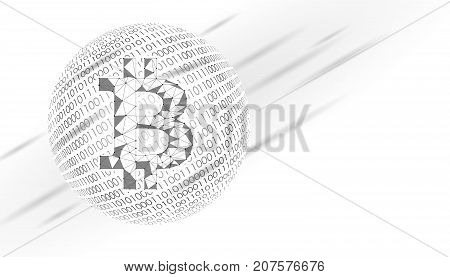 Bitcoin crypto currency sign on globe. International e-finance e-commerce concept. Binary number code planet Earth abstract banner. Gray white neutral business vector illustration art