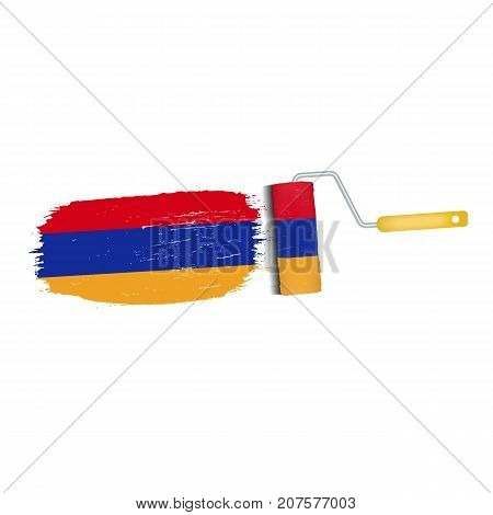 Brush Stroke With Armenia National Flag Isolated On A White Background. Vector Illustration. National Flag In Grungy Style. Brushstroke. Use For Brochures, Printed Materials, Logos, Independence Day