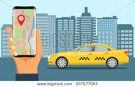 Online Taxi service. Yellow taxi cab and hand holding smartphone with taxi application. Illustrated vector.