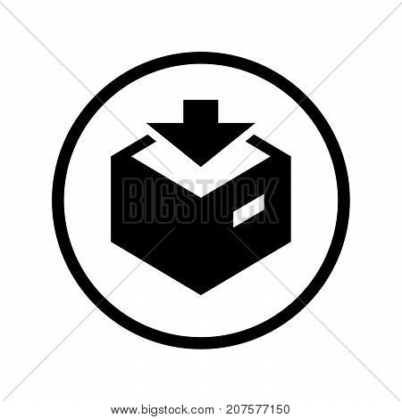 Vector of Download icon in Circle line iconic symbol inside a circle on white background. Vector Iconic Design..