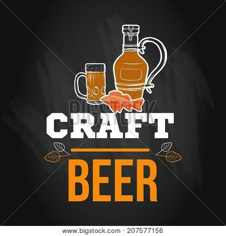 Beer menu logo or emblem template in sketch hand drawn style on chalkboard with hop on chalkboard vector illustration with craft drinks icon