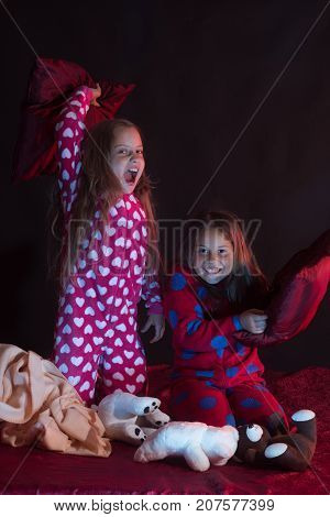 Kids In Pajamas Have Pillow Fight, Copy Space