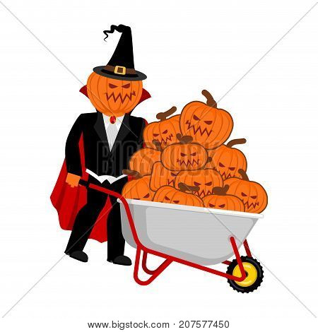 Wheelbarrow Halloween. Bunch Of Terrible Pumpkins. Vintage Pumpkin. Vector Illustration