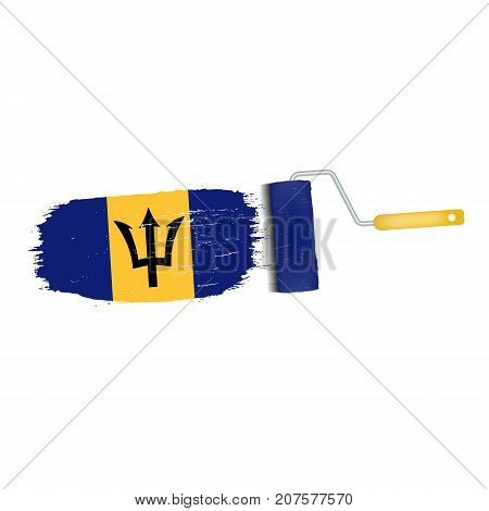 Brush Stroke With Barbados National Flag Isolated On A White Background. Vector Illustration. National Flag In Grungy Style. Brushstroke. Use For Brochures, Printed Materials, Logos, Independence Day