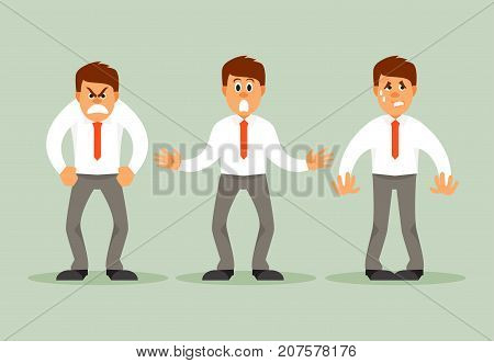 Businessman with different emotions. Fear anger surprise Humorous vector illustration