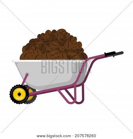 Wheelbarrow and coffee. coffee beans in garden trolley. big harvest Vector Illustration