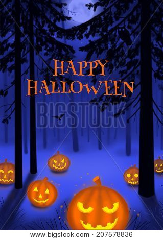 Happy Halloween illustration poster or postcard art illustration