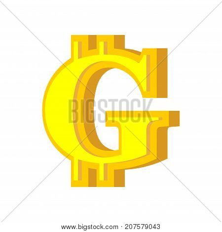 G Letter Bitcoin Font. Cryptocurrency Alphabet. Lettering Virtual Money. Vector Illustration