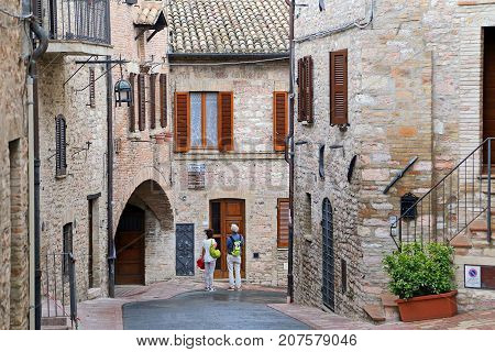 ASSISI ITALY 30 JUNE 2017: Assisi small town of umbria italy