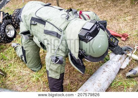 Sapper. Person in bomb suite. Military soldier