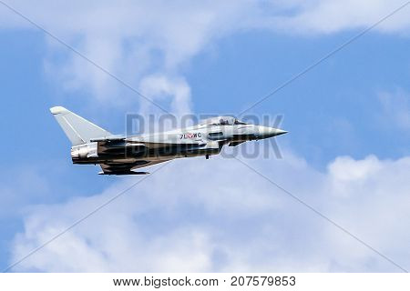 SLiAC SLOVAKIA - AUGUST 27: Eurofighter typhoon jet plane at airshow SIAF 2017 on August 27 2017 in Sliac