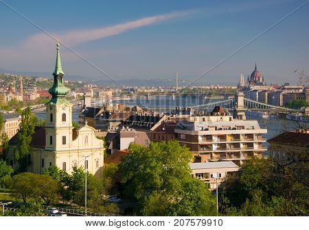 View of Saint Catherine church and Danube river from Gellert hill in Budapest Hungary