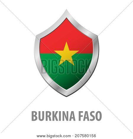 Burkina Faso Flag On Metal Shiny Shield Vector Illustration.