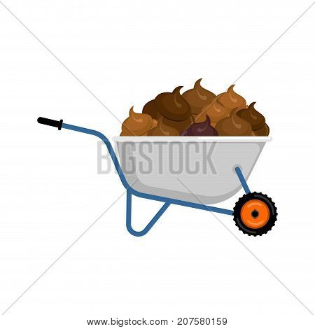 Wheelbarrow And Shit. Turd In Garden Trolley. Vector Illustration