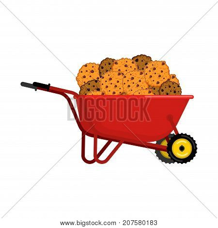 Santa Claus Wheelbarrow And Cookies. Xmas Cookie In Grounds Trolley. Christmas And New Year. Vector