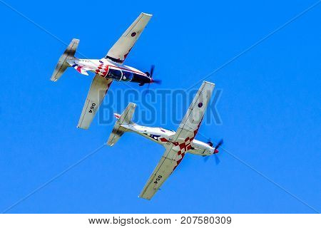 SLiAC SLOVAKIA - AUGUST 27: Croatian aurobatics group Krila Oluje on planes Pilatus PC-9 at airshow SIAF 2017 on August 27 2017 in Sliac