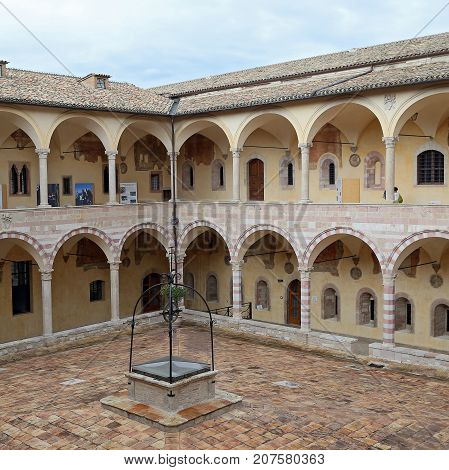 ASSISI ITALY 30 JUNE 2017: Cloister of St. Francesco Basilica. Assisi. Umbria