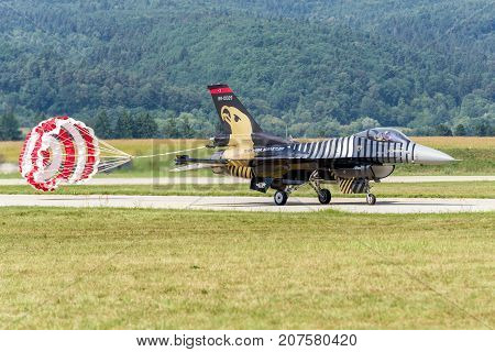 SLIAC SLOVAKIA - AUGUST 27: Airplane F-16 Falcon from Turkish air force on runway at airshow SIAF 2017 on August 27 2017 in Sliac