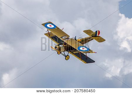 SLIAC SLOVAKIA - AUGUST 27: Biplane Sopwith on runway at airshow SIAF 2017 on August 27 2017 in Sliac