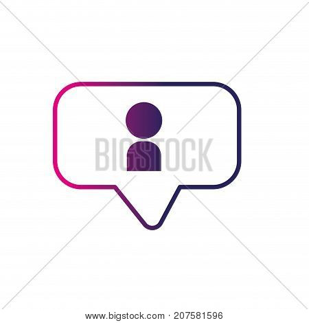 line chat bubble with user icon inside vector illustration