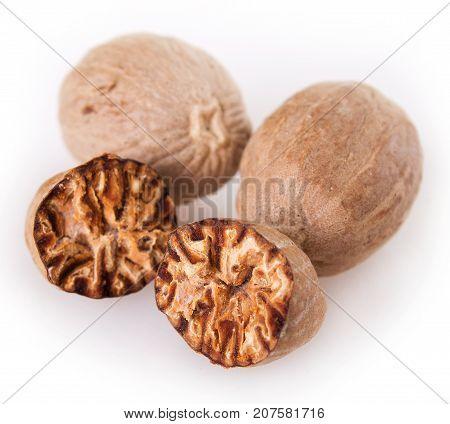 the nutmeg isolated on white background close-up