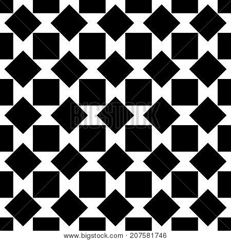 Repeating abstract black and white square pattern - halftone vector background design from rotated squares