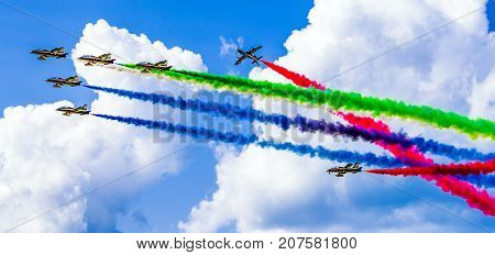 SLIAC SLOVAKIA - AUGUST 27: Aerobatic display team Al Fursan at airshow SIAF 2017 on August 27 2017 in Sliac
