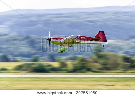 SLIAC SLOVAKIA - AUGUST 27: Zoltan Veres on his MXS airplane at airshow SIAF 2017 on August 27 2017 in Sliac
