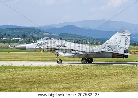 SLIAC SLOVAKIA - AUGUST 27: Mig-29 Fulcrum jet plane at airshow SIAF 2017 on August 27 2017 in Sliac