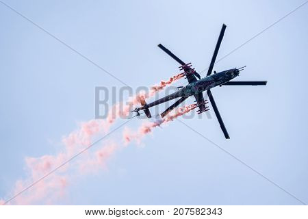 SLIAC SLOVAKIA - AUGUST 27: Helicopter Mil Mi-24 at airshow SIAF 2017 on August 27 2017 in Sliac