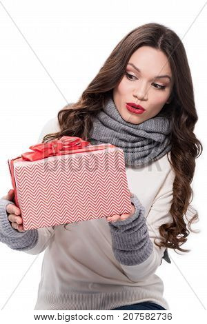 Excited Woman Holding Gift Box