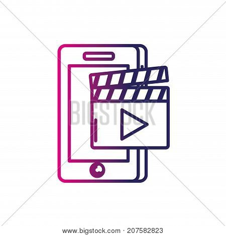 line smartphone technology with clapperboard video vector illustration