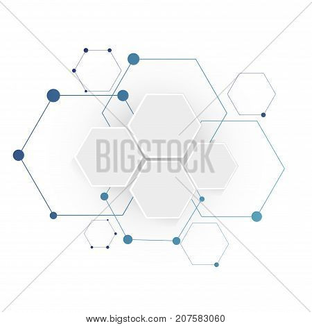 Abstract molecular hexagon connection structure. Science background.