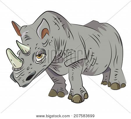 Rhino cartoon image. Artistic freehand drawing. Authentic cartoon.