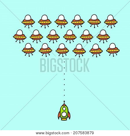 Hand drawn cartoon style ufo arcade game concept. Rocket in space against aliens ships comic mobile game