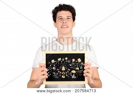 Portrait of handsome young man holding chalkboard with feedback sketch. Business concept