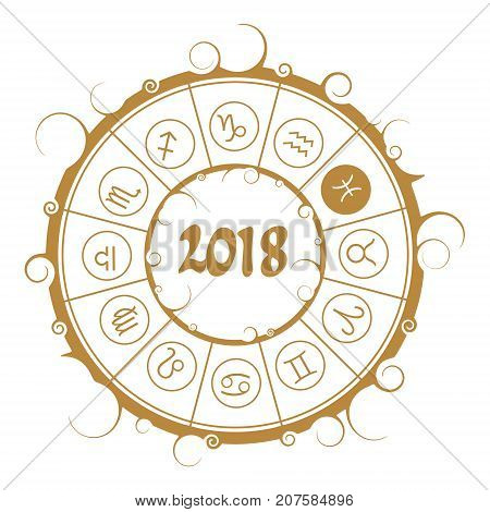 Astrological symbols in the circle. Pisces sign. New Year and Christmas celebration card template. Zodiac circle with 2018 new year number.