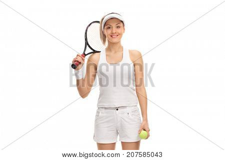 Female tennis player with a racket and a ball isolated on white background