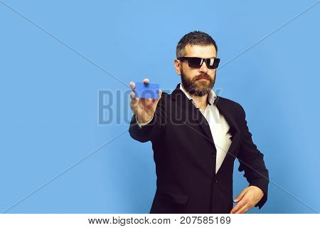 Businessman With Empty Card. Business And People At Work